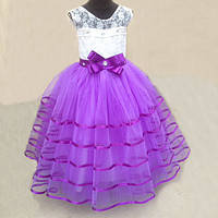 Детское красивое праздничное нарядное платье с бусинками на 6-8 лет. 6-8 лет, сиреневый