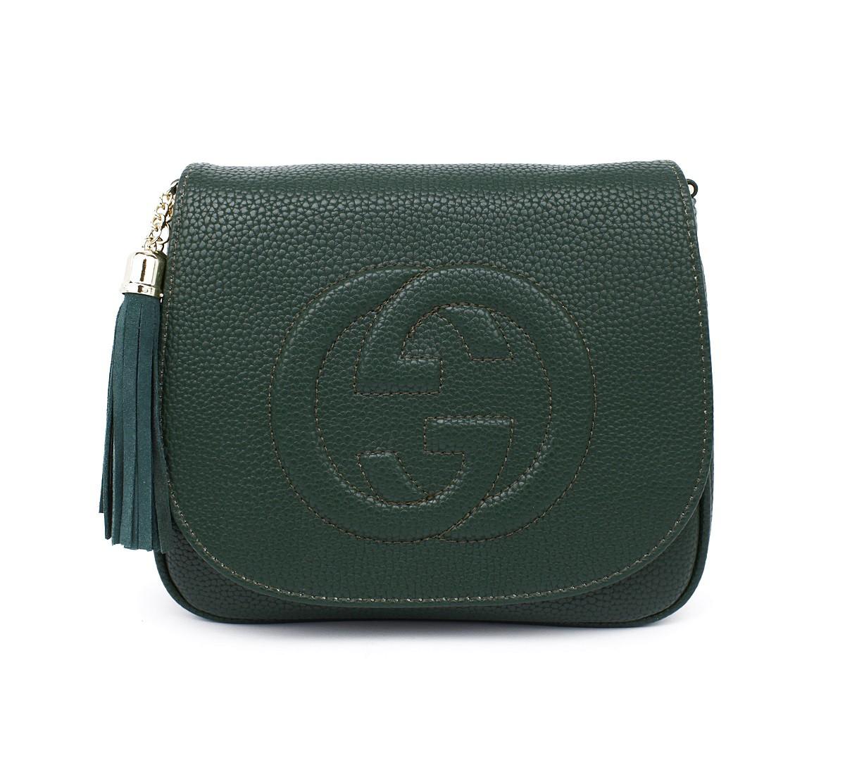 Сумочка-клатч женская кожзам зеленая Gucci 0201