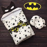 """Весенний конверт-одеяло для новорожденных """"Бэтмен""""  (подушка в подарок), фото 1"""