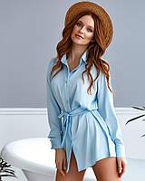 Элегантное короткое пляжное платье с длинным рукавом на поясе шелк, фото 1
