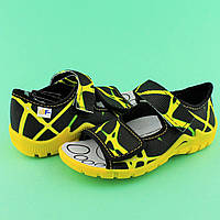 Желтые босоножки тапочки на мальчика польская детская текстильная обувь тм 3F р.25,26,27,28,29,30