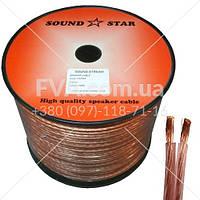 Кабель акустический, алюминиево-медный, 2х4,0мм.кв., прозрачно-розовый, 100м, Sound Star