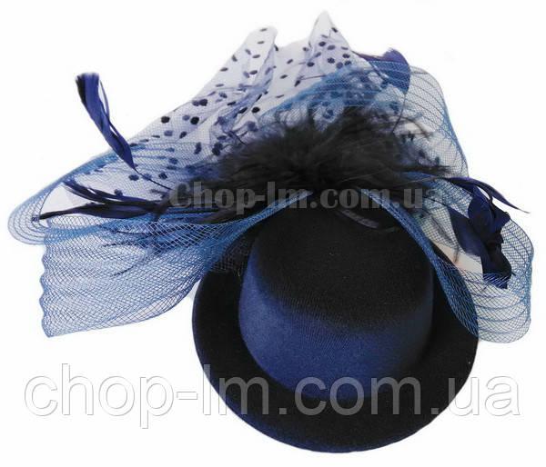 Шляпка темно-синяя с вуалькой