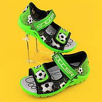 Зеленые босоножки для мальчика польская текстильная обувь тм 3F р.25,26,27,28,29,30