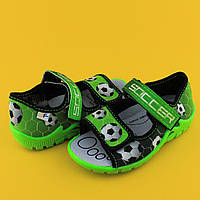 Открытые босоножки с рисунком футбол на мальчика, польская текстильная обувь тм 3F р.25,26,27,28,29,30