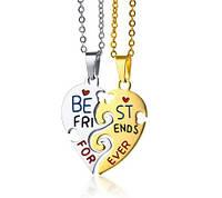 Парные кулоны для друзей «Сердца BEST FRIENDS FOREVER»