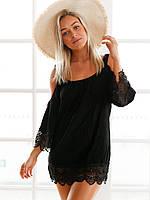 Черное пляжное платье - туника, фото 1