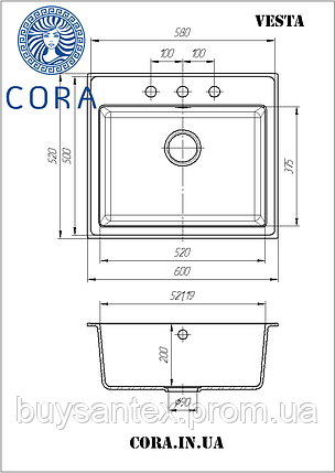 Кухонная мойка Cora - Vesta Brown, фото 2