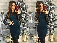 Женское приталенное платье из гипюра