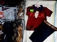 Костюм для мальчика 5-8 лет футболка бордо,синего,белого и бриджи с поясом оптом