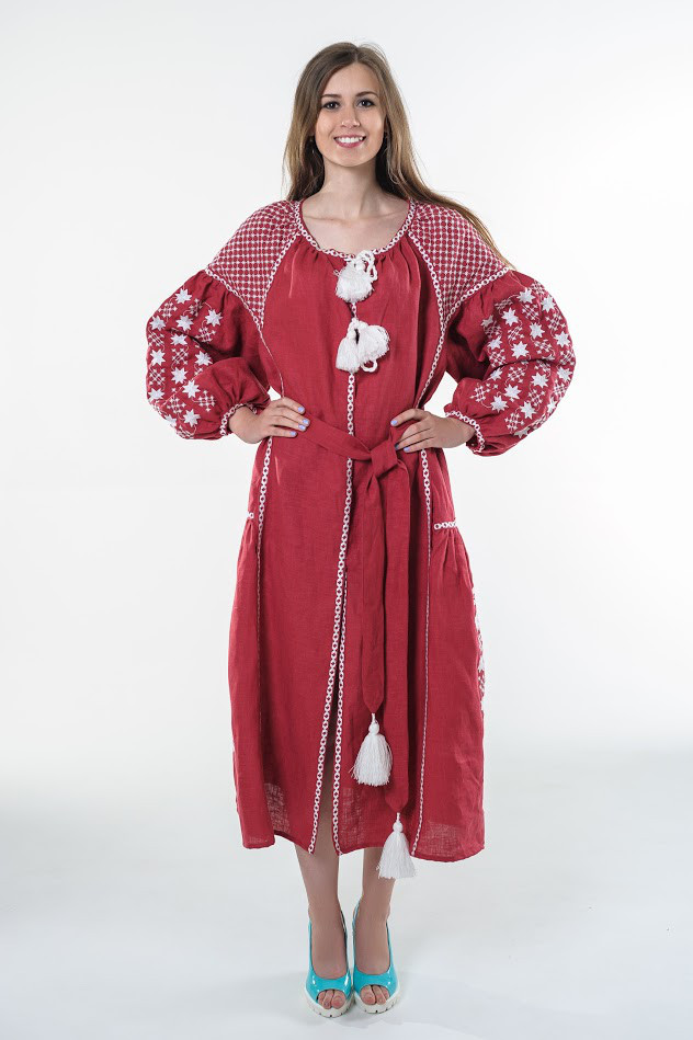 Сукня вишита Gua Зоряна Ніч L вишнева (1501-L)
