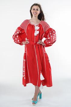 Сукня вишита Gua Зоряна Ніч XL червона (1502-XL)