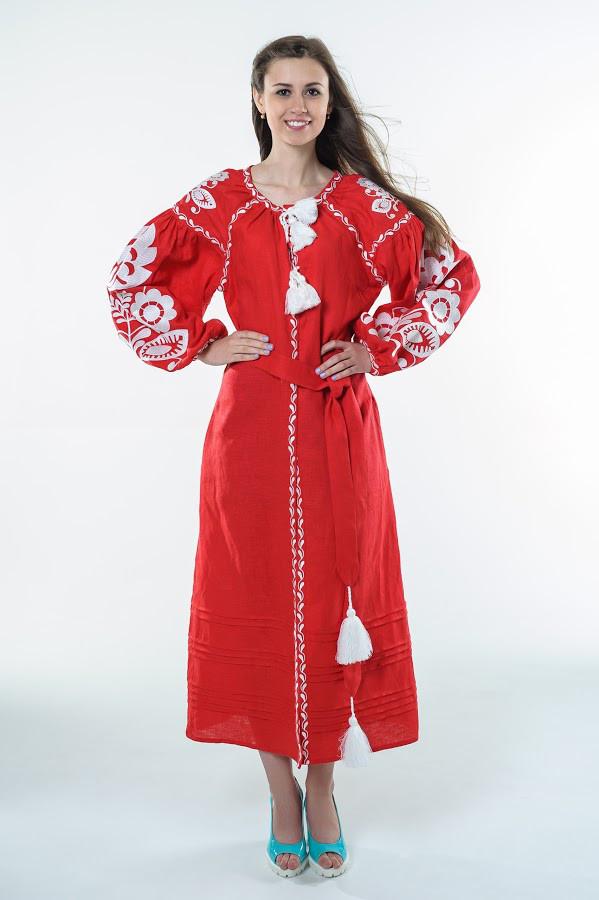 Сукня вишита Gua Зоряна Ніч з поясом L червона (1822-L)