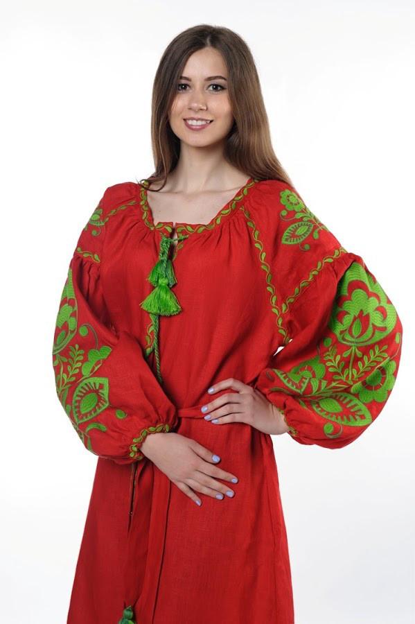 Сукня вишита Gua Бохо з поясом S червона (1823-S)