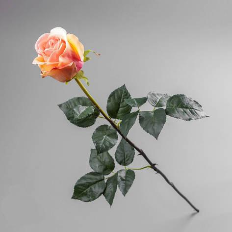 Искусственный цветок роза персиковая (силикон)., фото 2