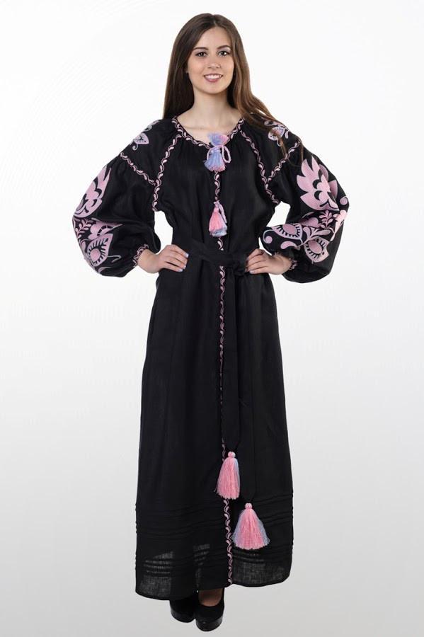 Сукня вишита Gua Бохо з поясом XL чорна (1831-XL)
