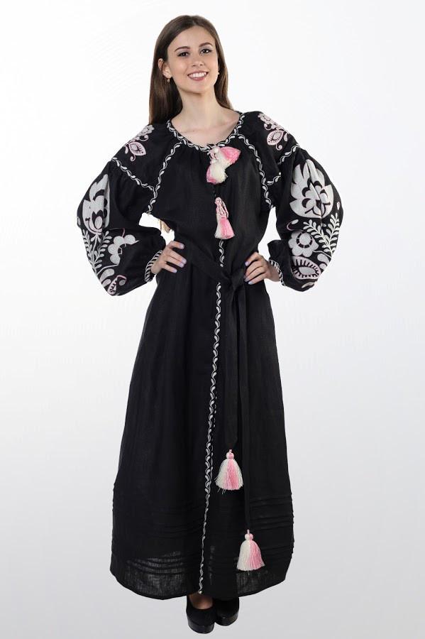 Сукня вишита Gua Бохо з поясом S чорна (1832-S)