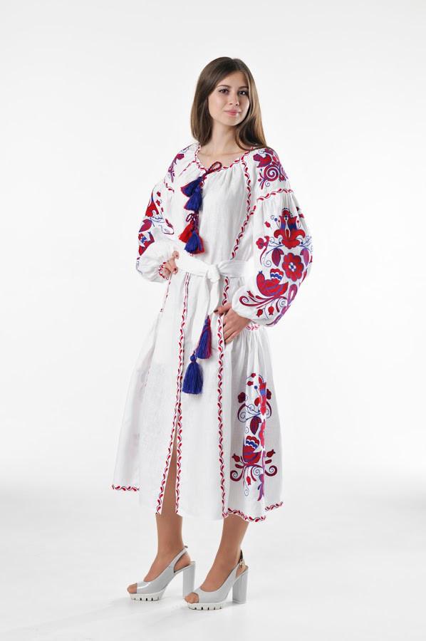 Сукня вишита Gua Птахи з клином S біла (3201-S)