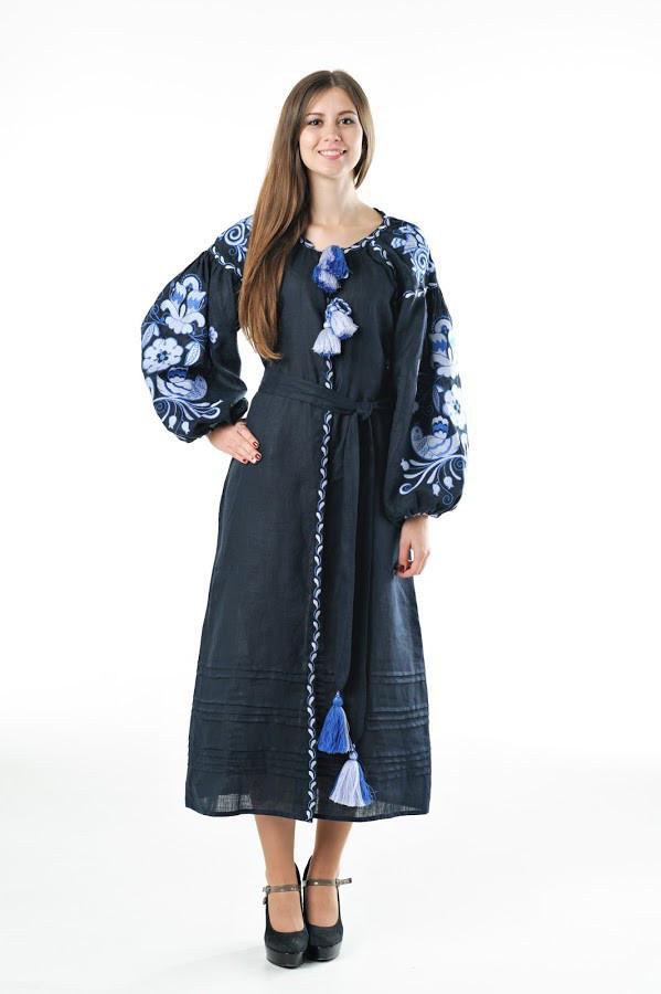 Сукня вишита Gua Птахи XL синя (3204-XL)