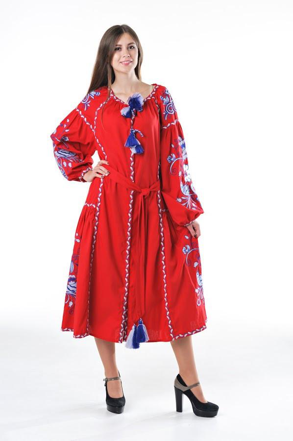Сукня вишита Gua Птахи S червона (3205-S)