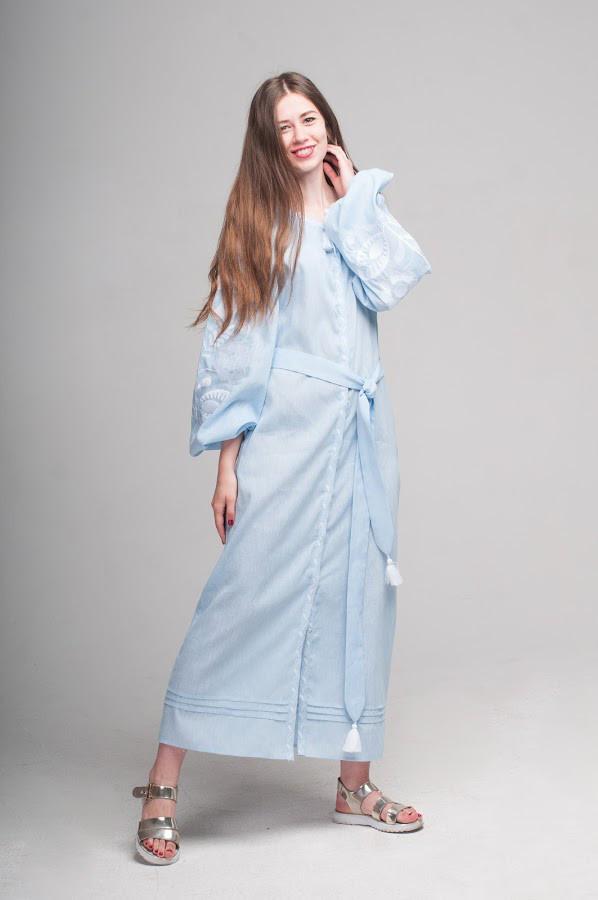 Сукня вишита Gua Ружа з поясом M блакитна (1841-M)