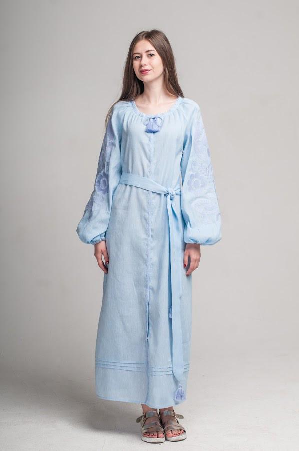 Сукня вишита Gua Ружа з поясом L блакитна (1842-L)