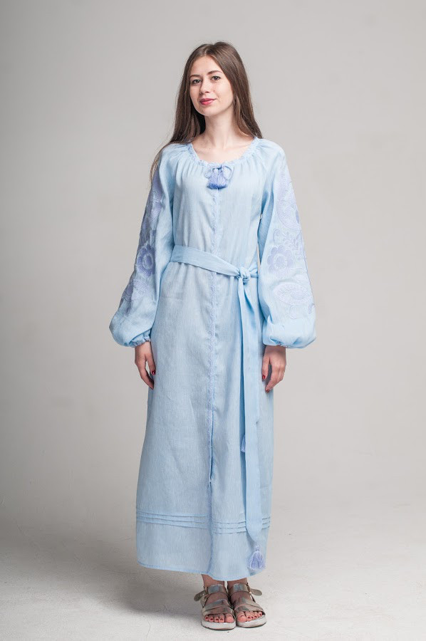 Сукня вишита Gua Ружа з поясом XL блакитна (1842-XL)