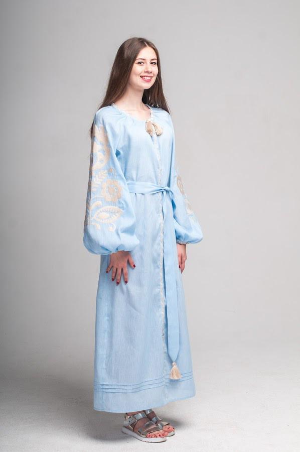 Сукня вишита Gua Ружа з поясом S блакитна (1843-S)