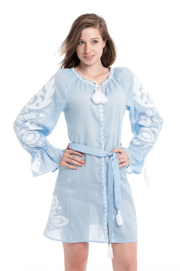 Сукня вишита Gua Ружа клин з поясом M блакитна (1851-M)