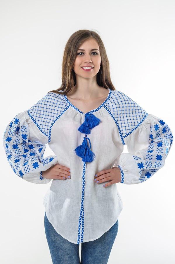 Блуза вишита Gua Зоряна ніч S біла (1205-S)