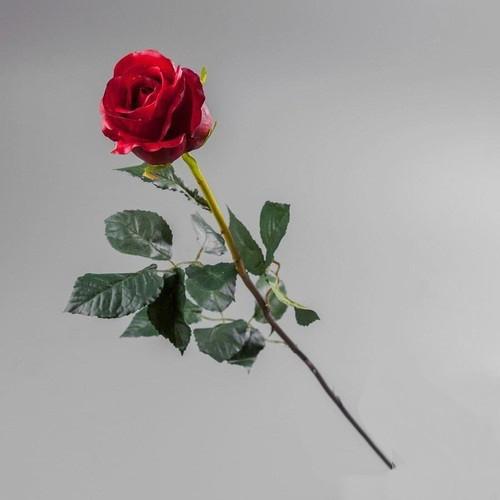 Искусственный цветок красная роза (силикон).
