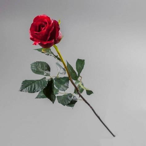 Искусственный цветок красная роза (силикон)., фото 2