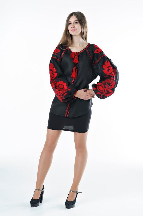 Блуза вишита Gua Бохо XL чорна (1105-XL)