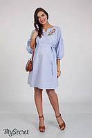 Платье-вышиванка для беременных и кормящих LADA, из хлопкового поплина, голубая клетка, фото 1