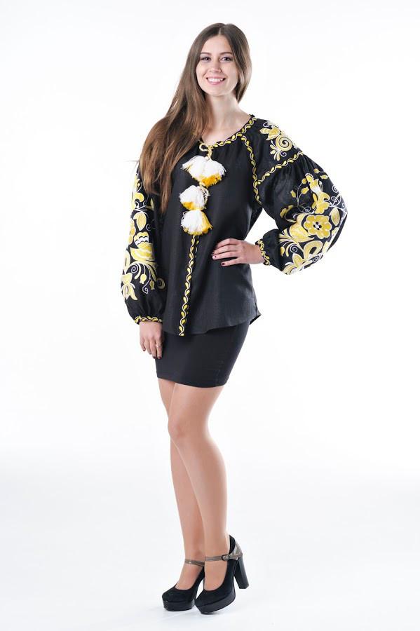Блуза вишита Gua Птахи S чорна (3102-S)