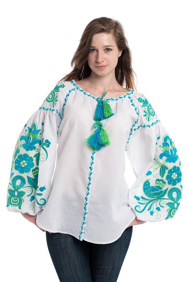 Блуза вишита Gua Птахи M біла (3109-M)