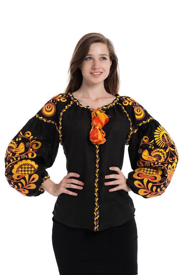 Блуза вишита Gua Дерево Життя XL чорна (3201-XL)