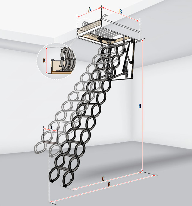 металлическая лестница на чердак fakro-nozycowe-lst