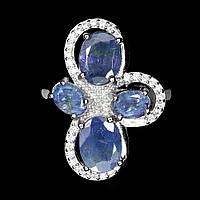 Серебряное кольцо с танзанитами 8 мм*6мм