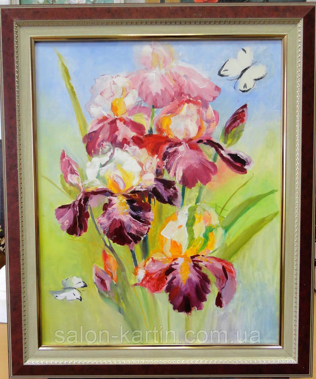 """Картина """"Ирисы и бабочки"""""""