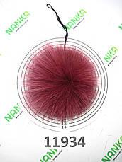 Меховой помпон Песец, Тем. Малина, 10 см, 11934 (для мех розетки), фото 3