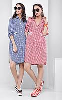 Женское летнее платье в клетку с коротким рукавом Sara (разные цвета)