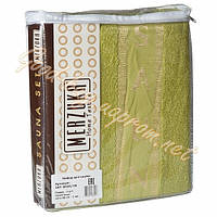 Набор для сауны мужской MERZUKA оливковый   (тапочки, шапочка, полотенце) 100% cotton Турция