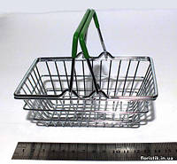Декоративная мини-корзинка из супермаркета зеленая