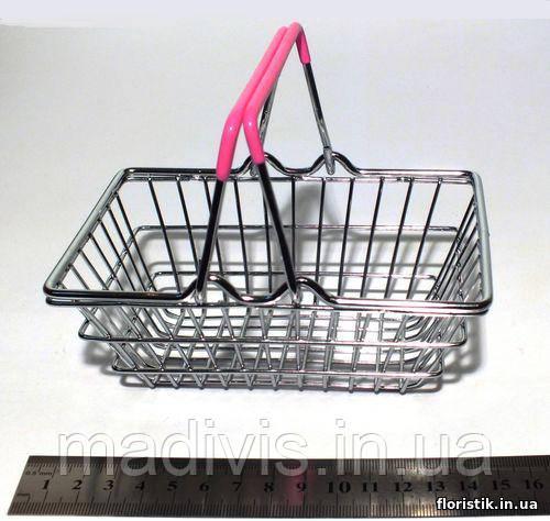Декоративная мини-корзинка из супермаркета розовая