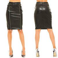 Кожаная юбка нжа247 46, чёрный