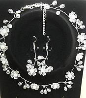 Свадебные украшения. Плетенные ожерелья и серьги оптом. 231
