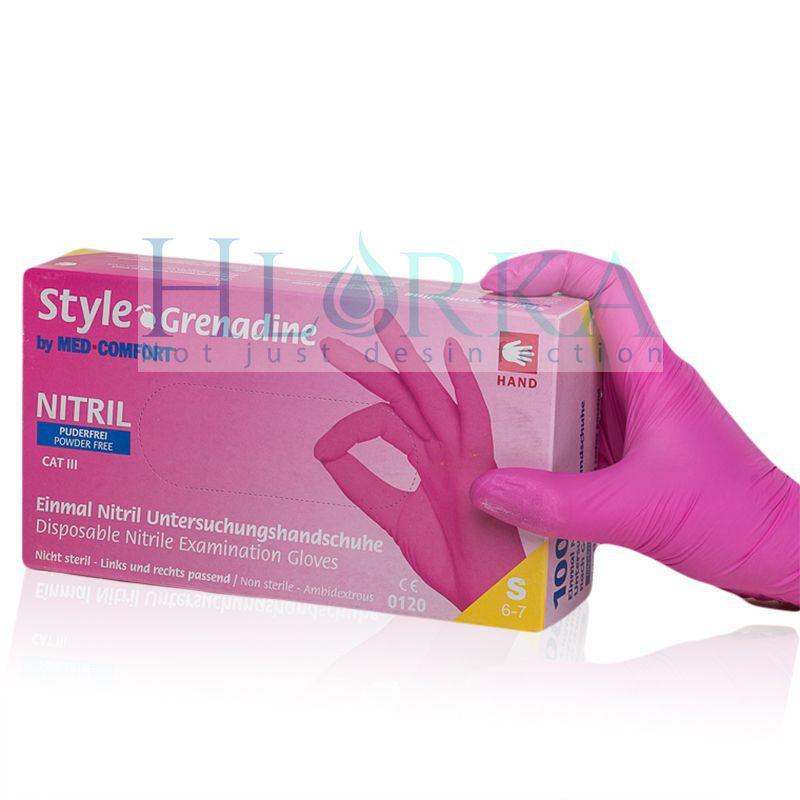 Перчатки нитриловые, смотровые Style Grenadine Розовые (100шт./уп.)