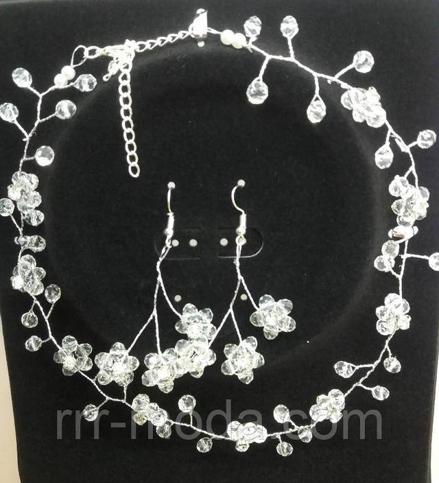 Наборы свадебных украшений.Свадебные украшения. Плетенные ожерелья и серьги оптом