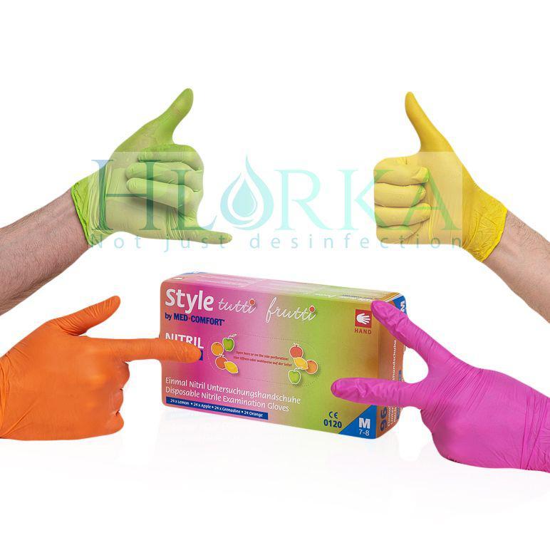 Перчатки нитриловые, разноцветные (4 цвета) Style Tutti Frutti (96шт./уп.)
